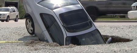 A Honda Prelude fell into a sinkhole in North Carolina. (ABC News)