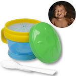 AllTopBargains 2-in-1 Baby Toddler Snack Catcher Cup & Feeding Bowl w/ Spoon Container BPA Free