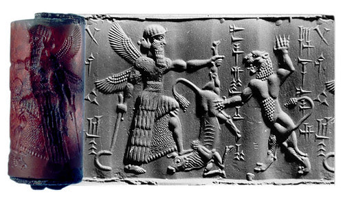 A Winged Hero Contesting with a Lion for a Bull, Cylinder seal and impression