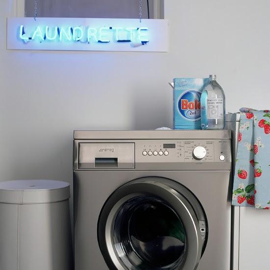 Neon sign utility room | modern utility room ideas | utility room decorating ideas | laundry room ideas | housetohome