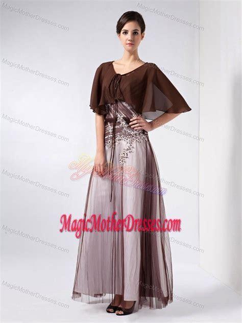 Beading V neck Ankle length Tull Mother Bride Dress in