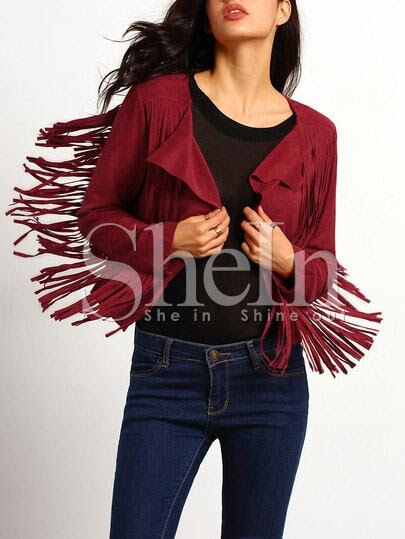 Red Long Sleeve Tassel Jacket pictures