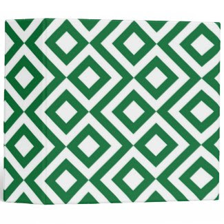 Green and White Meander 3 Ring Binder