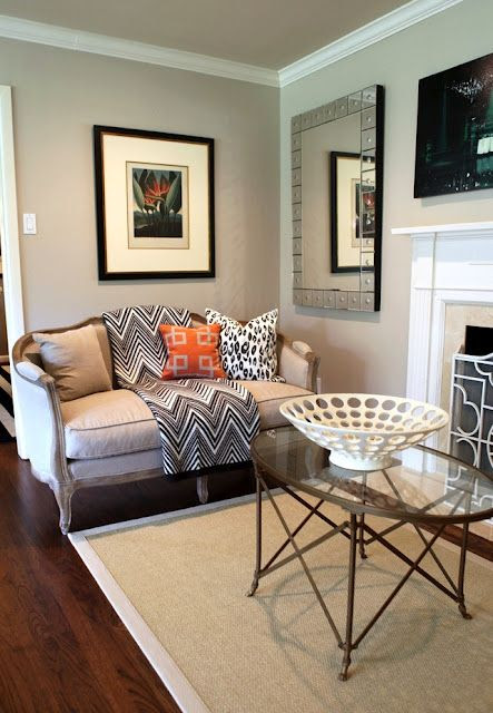 Paint Colors: family room/living room  and I like the large mirror plus the white ceiling crown moulding