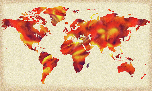 Global Warming Watercolor Map Of The World by Irina Sztukowski
