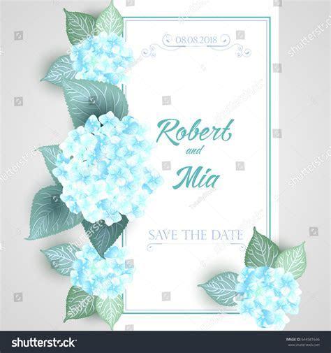Vector Flower Wedding Invitation Card Blue Stock Vector