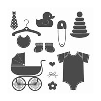 Something For Baby Wood-Mount Stamp Set