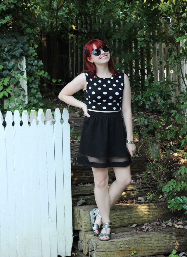 Dotted Crop Top, Skater Skirt, Polka Dot Sunglasses