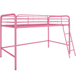 RealRooms Addison Junior Metal Loft Bed, Twin, Pink