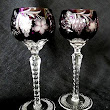 Ajka Marsala Amethyst Wine Hock Goblet Crystal Cut Grapes Star Cut Stem Set of 2