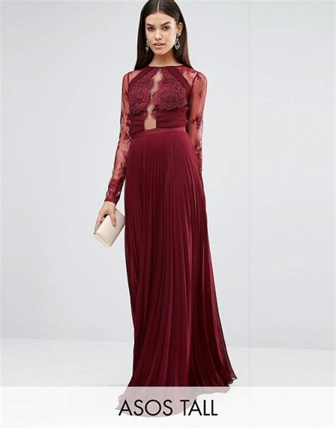 ASOS TALL WEDDING Pretty Lace Eyelash Pleated Maxi Dress
