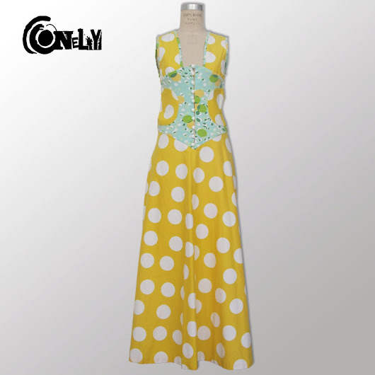 Maxi Evening Backless Dress, Yellow with White Dots