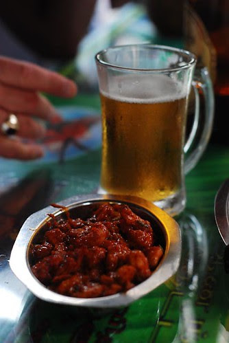 Spicy prawns with special brew beer