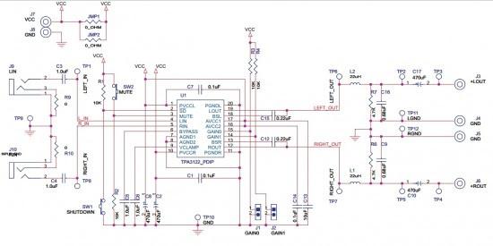 TPA3122 audio amp circuit schematic