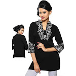Indian Selections-Black crepe kurti with contrast colored embroidery work.-Large