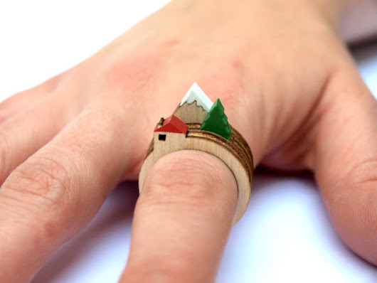 Laser-Cut Wooden Rings That Feature Mini Dioramas