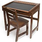 Lipper International Child's Chalkboard Desk and Chair, Walnut
