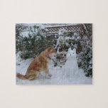 cute akita in snow with snowman akita dog photo jigsaw puzzles
