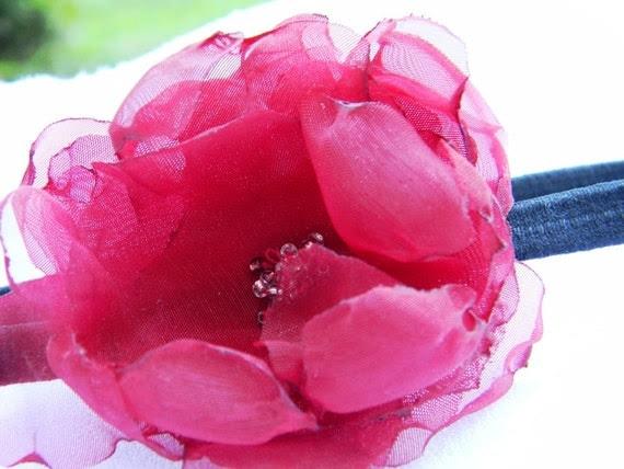 Firey Red Organza Singed Fabric Flower Headband