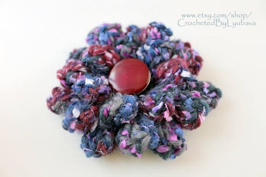 3d Crochet Big Flower Brooch  Multicolor Blue Maroon