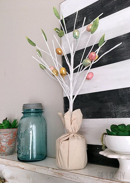 easter tree, easter mantel, spring mantel