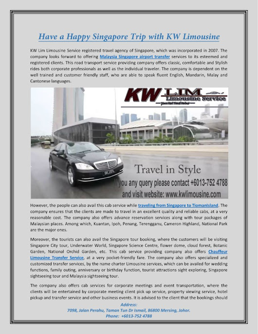 Have a Happy Singapore Trip with KW Limousine