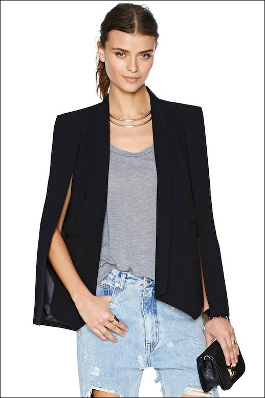 Le Fashion Blog Gimme Gimme Black Champagne Taste Cape Blazer Double Collar Necklace Destroyed Denim photo Le-Fashion-Blog-Gimme-Gimme-Black-Champagne-Taste-Cape-Blazer-Double-Collar-Necklace-Destroyed-Denim.jpg