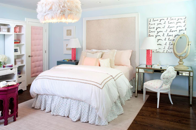 Pink and Blue Teen Bedroom - Contemporary - girl's room - Kristin ...