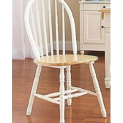 Dining Room Kitchen Windsor Chair Set Of 2 White Natural Table Seating Nook New