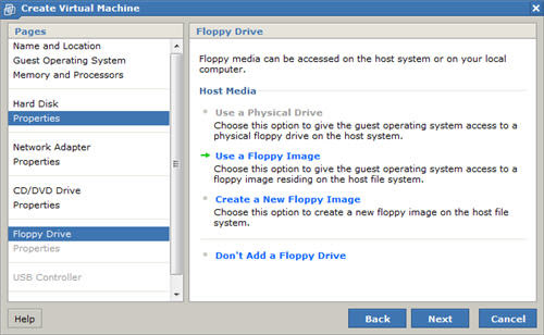New Virtual Machine Wizard Floppy