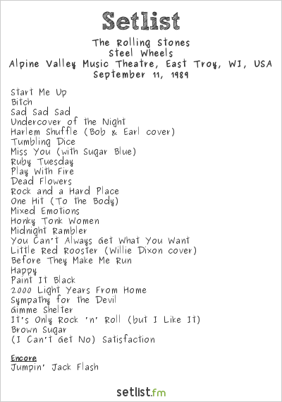 The Rolling Stones Setlist Alpine Valley Music Theatre, East Troy, WI, USA 1989, Steel Wheels