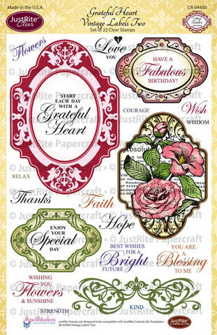 Grateful Heart Vintage Labels Two Clear Stamps