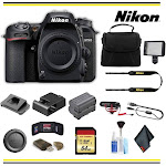 Nikon D7500 DSLR Camera (1581) Advanced Bundle Body W/Bag, Extra Battery, LED Light, Mic, and More