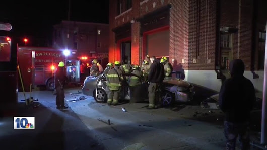2 cars crash into Pawtucket fire station