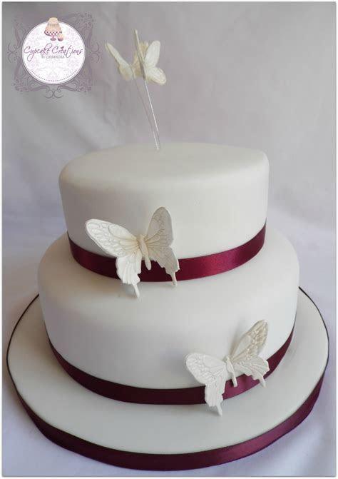 Two Tier Butterfly Wedding Cake Top Tier Sponge Bottom