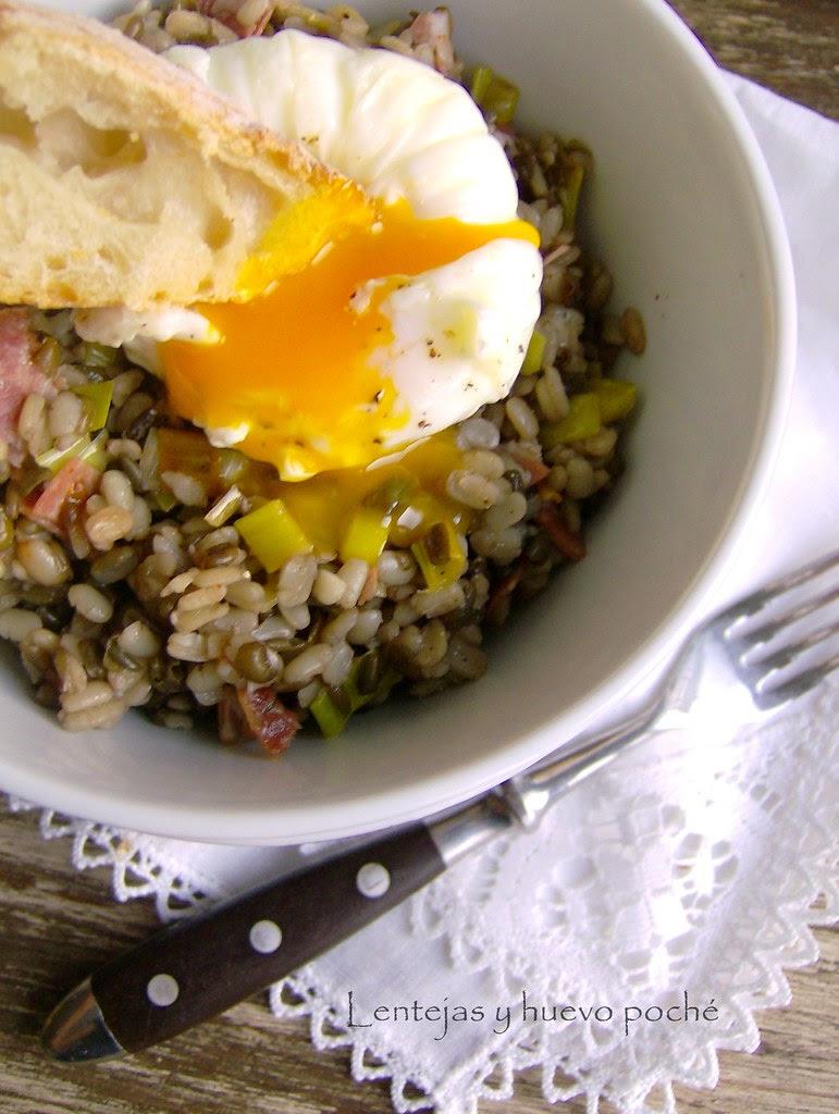 Lentejas y huevo poché