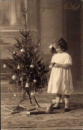 Image result for vintage  little girl with christmas tree
