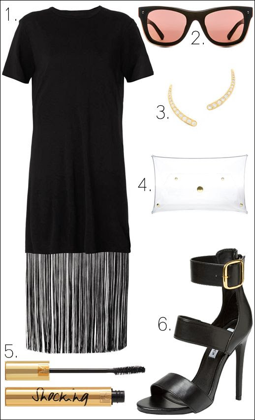 Le Fashion Blog -- Summer Fringe -- Raquel Allegra Dress -- Phillip Lim Sunglasses -- Gorjana Earrings -- Klear Klutch Clutch -- Yves Saint Laurent Mascara -- Steve Madden Sandals -- Outfit Collage photo Le-Fashion-Blog-Summer-Fringe-Raquel-Allegra-Dress-Outfit-Collage.jpg
