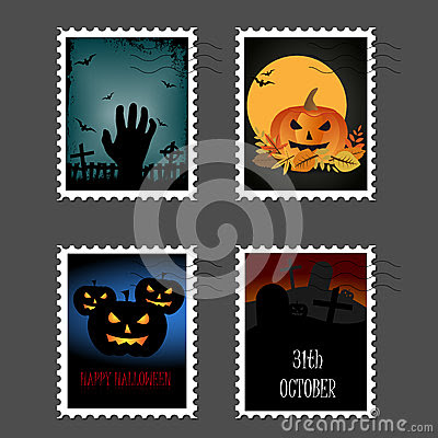 Halloween Stamps Stock Illustration - Image: 44095361