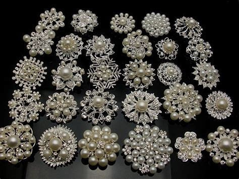5 100Silver Pearl Crystal Brooch Button DIY Bridal Wedding