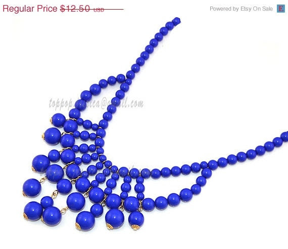 Royal Blue Necklace, Beaded Bubble Necklace, Chunky Beads Necklace, Beadwork Party Holiday Wedding Necklace (TP-N-0070G) - TopPopJewelry