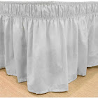 Easy Fit Ruffled Solid Bed Skirt, White, Twin/Full