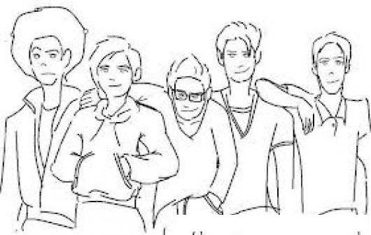 5 Carnales Dibujo De Un Grupo De Amigos Para Colorear A Cinco Chavos