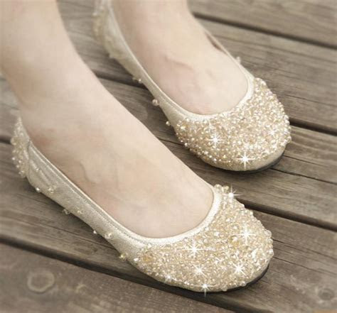 Hot Women's Shoe Dazzling Flat Heel Shoes Wedding Bridal