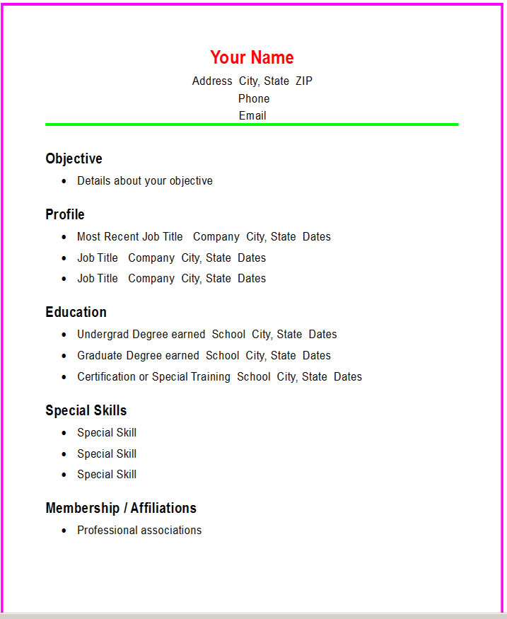 BASIC RESUME TEMPLATE » PROFESSIONAL COVER LETTER
