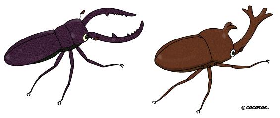 虫のイラストカブトムシのイラストクワガタのイラスト
