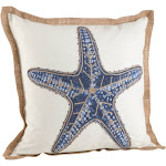 Saro Lifestyle 5433.NB20S 20 in. Square Star Fish Print Cotton Down Filled Throw Pillow Navy Blue