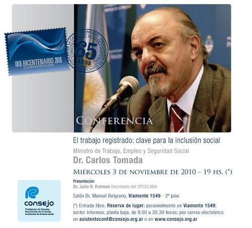 Flyer Conferencia Ministro Carlos Tomada