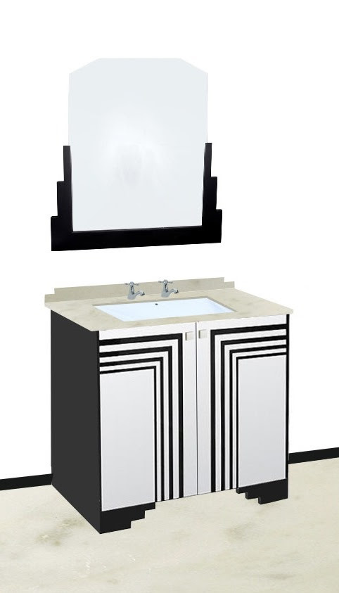 New Art Deco Skyscraper Style Bathroom Vanity Unit Furniture With Streamline Speed Lines Bathroom Design