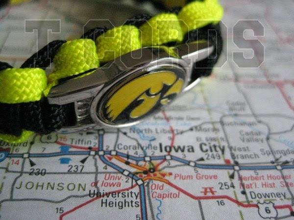 Handmade Iowa Hawkeyes Light Weight Paracord Bracelet